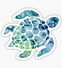 Watercolor blue and green sea turtle design  Sticker