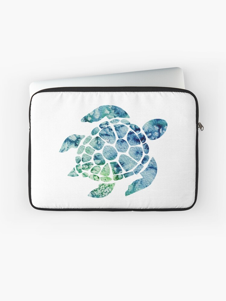 Watercolor Blue And Green Sea Turtle Design Laptop Sleeve By