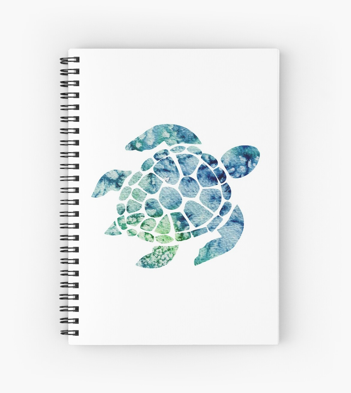 Watercolor Blue And Green Sea Turtle Design Spiral Notebooks By