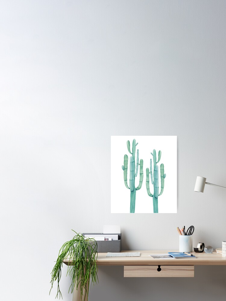 Alternative Ansicht von Modischer Kaktus-grüner und weißer Wüsten-Kaktus-Entwurf Poster