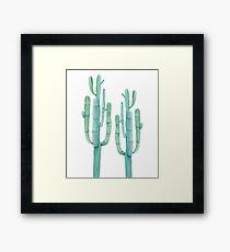 Trendy Cactus Green and White Desert Cacti Design Framed Print