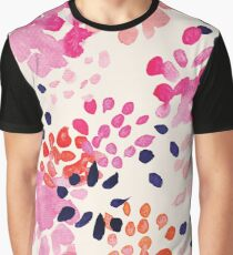 Watercolour flowers in pink, red and deep blue, floral pattern Graphic T-Shirt