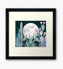 Cactus Night Pretty Pink and Blue Desert Stars Cacti Illustration Framed Print