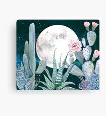 Cactus Nights Pretty Pink and Blue Desert Stars Cacti Illustration Canvas Print