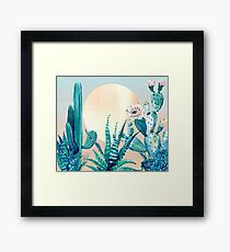 Cactus Dawn Pretty Pink and Green Desert Cacti Illustration Framed Print