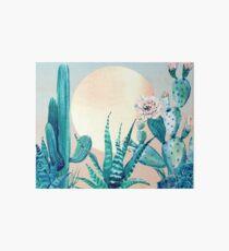Kaktus-Dämmerung-recht rosa und grüne Wüsten-Kaktus-Illustration Galeriedruck
