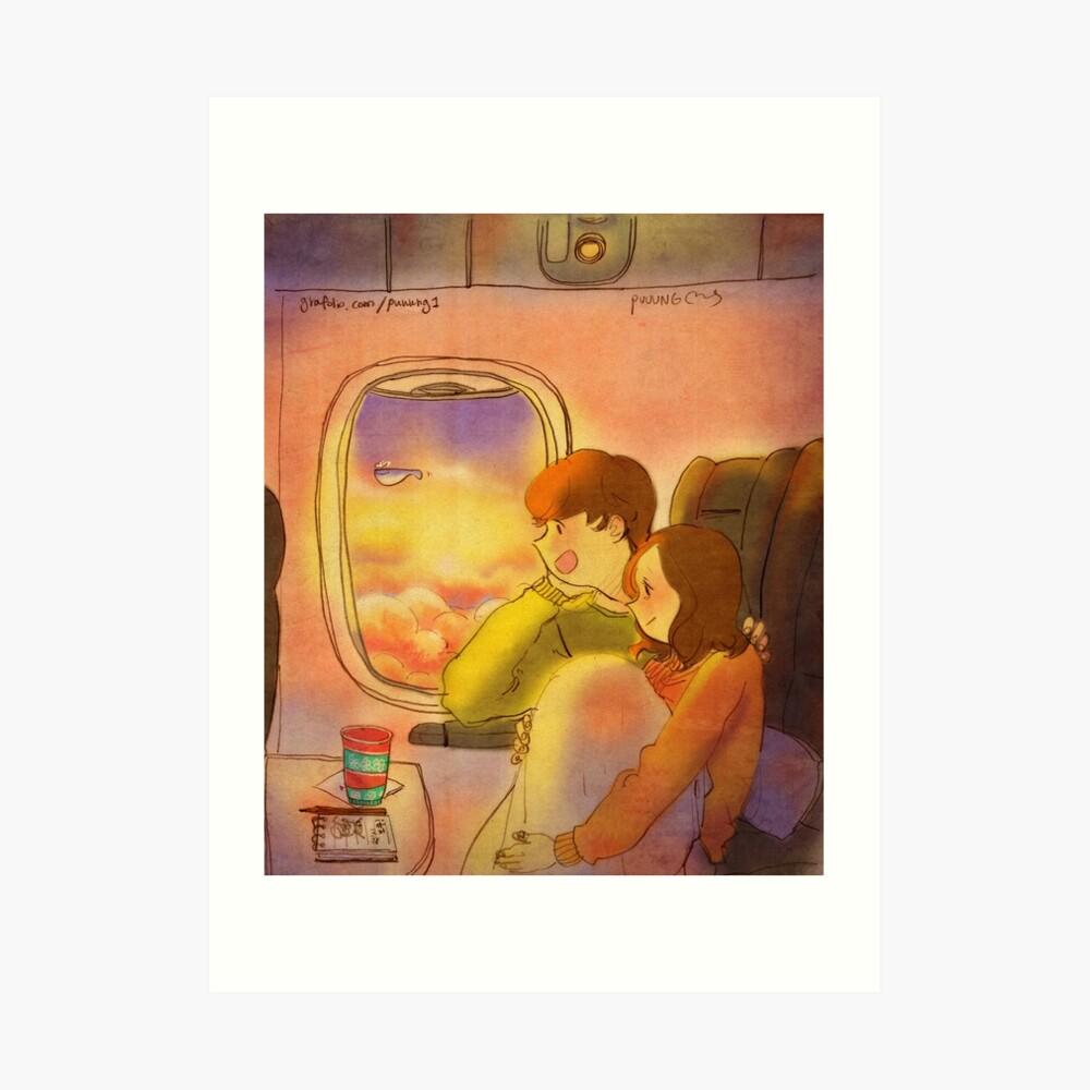 En el avión Lámina artística