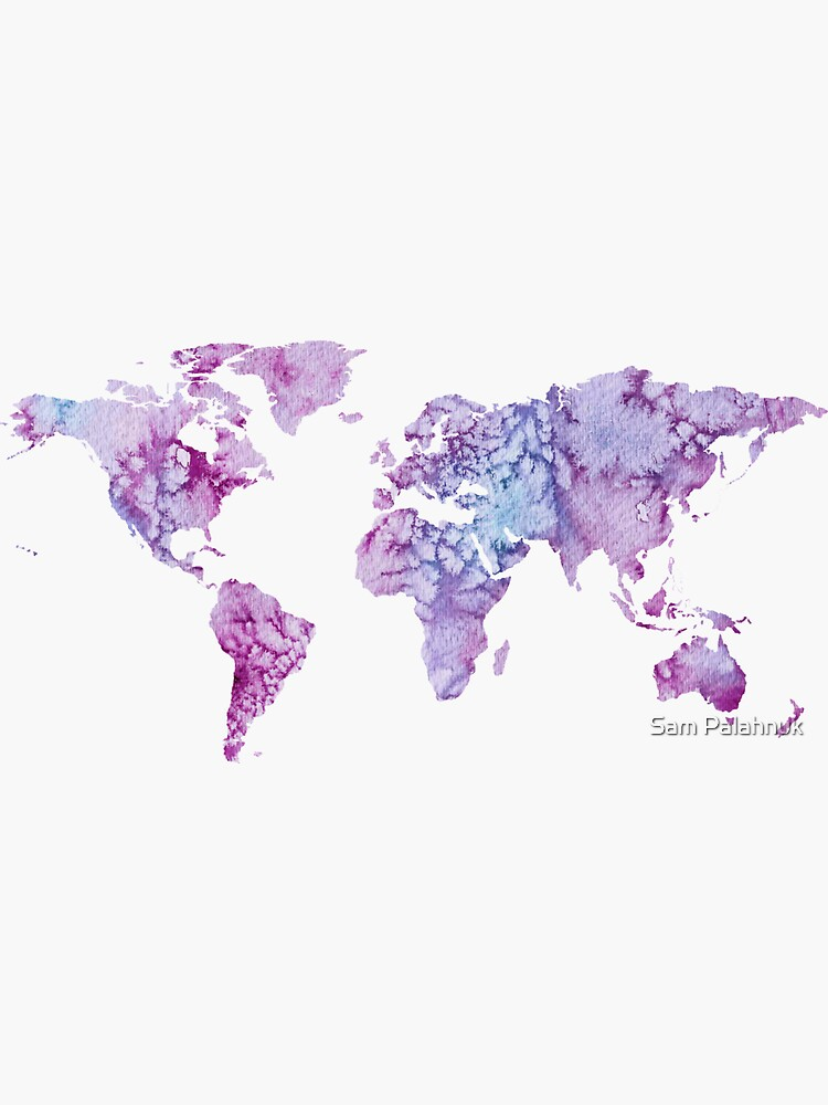 World Map: Pink and Purple watercolor design  by sampalahnukart