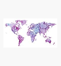 World Map: Pink and Purple watercolor design  Photographic Print