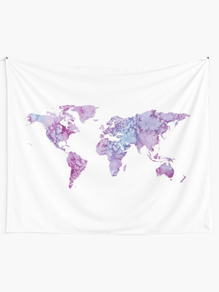 Alternate view of World Map: Pink and Purple watercolor design  Wall Tapestry