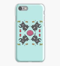 Gray cat and cute toys iPhone Case/Skin