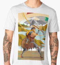 viking with axe in ship in scandinavia mountain Men's Premium T-Shirt