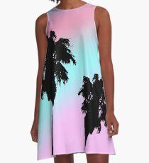 Pastell Sonnenuntergang Palm Tree Silhouette A-Linien Kleid