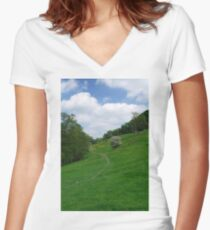 Pasture Land at Ashford-in-the-Water Women's Fitted V-Neck T-Shirt