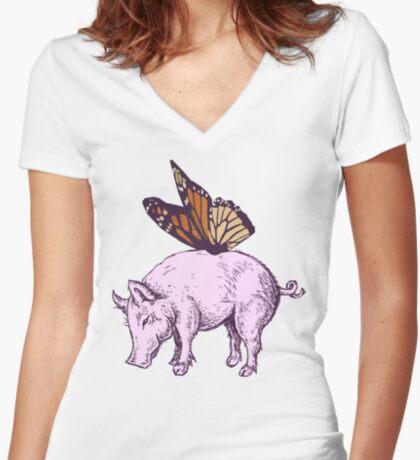 Butterpig Women's Fitted V-Neck T-Shirt