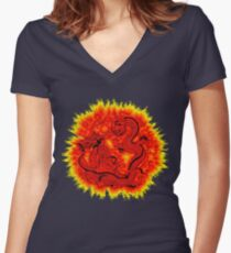 Chinese Dragon Palace and Lady Women's Fitted V-Neck T-Shirt