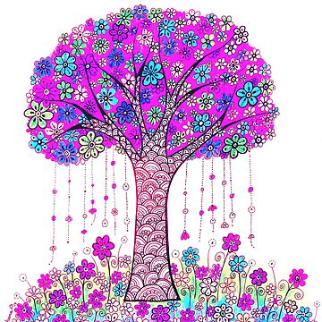 Abstract Tree Painting, Pink Floral art by DhanaART