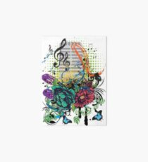 Vintage Music Microphone with Floral Art Board