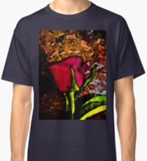 Red Rose and Green Leaf with some Brown Classic T-Shirt