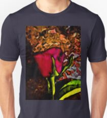 Red Rose and Green Leaf with some Brown T-Shirt