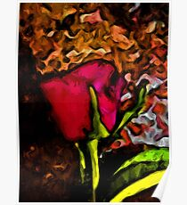 Red Rose and Green Leaf with some Brown Poster