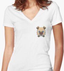 Pokemon Pop Rockruff Women's Fitted V-Neck T-Shirt