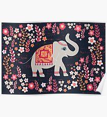 Elephants in the Flower Garden Poster