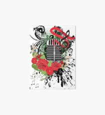 Vintage Music Microphone with Floral 2 Art Board