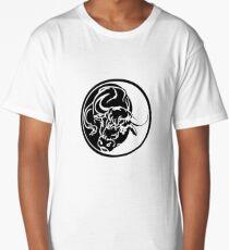 Black Bull Silhouette In Tribal Tattoo Style Long T-Shirt