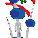 kuwait towers with lebanon flag by Areej27Jaafar