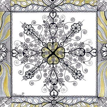 Golden Silver Mandala Original Drawing by DhanaART