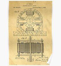 TESLA POSTER Electric Motor 1888 Patent  Poster