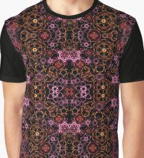 Digital flowers- mirrored seamless pattern on black Graphic T-Shirt