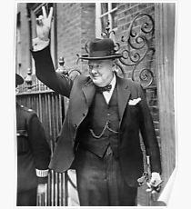 Winston, Churchill, British prime minister, V sign, Victory, 1943, WWII Poster
