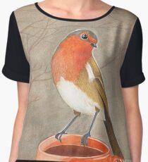 coffee loving robin bird Women's Chiffon Top