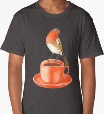 coffee loving robin bird Long T-Shirt