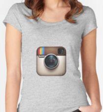 Instagram Tailliertes Rundhals-Shirt