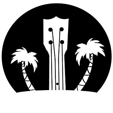 Ukelele and Palm Trees in Black and White by JCDesignsUK