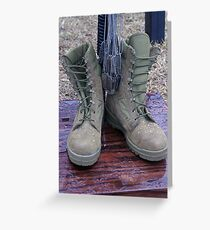 Dog tags hang from a M16 memorial of a fallen soldier. Greeting Card
