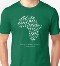 Africa Needs Lions (White) Unisex T-Shirt