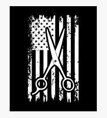 Scissors And American Flag Photographic Print