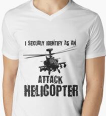 I Sexually Identify as an Attack Helicopter (Black on White) Men's V-Neck T-Shirt