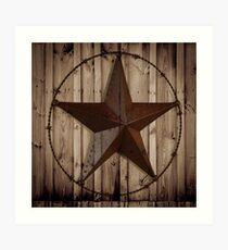 Lámina artística primitivo país occidental granero madera grunge estrella texas
