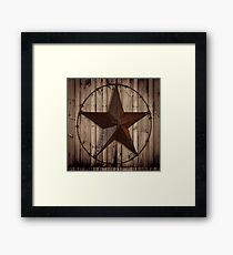 primitive western country barn wood grunge texas star  Framed Print