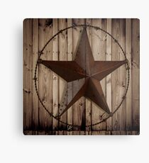 primitive western country barn wood grunge texas star  Metal Print