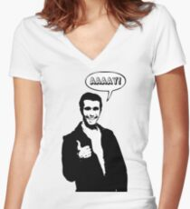Happy Days Fonzie T-Shirt Women's Fitted V-Neck T-Shirt