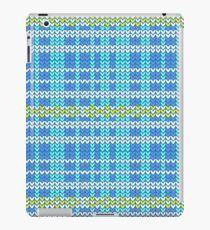 blue shade and white plaid with yellow diamond shape striped knitting pattern background iPad Case/Skin
