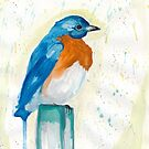 Bluebird Watercolor by J. L. Gould