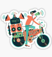 Party bike. Music and cycling Sticker