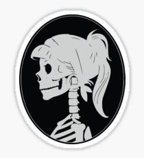 Grey, Skull ponytail profile logo Sticker